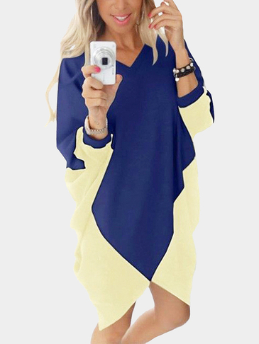Contrast Color V-neck Bat Sleeves Irregular Hem Loose Mini Dress