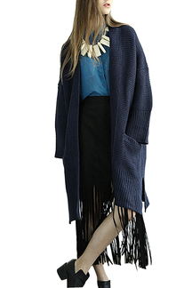 Slouchy Ribbed Cardigan in Navy Blue