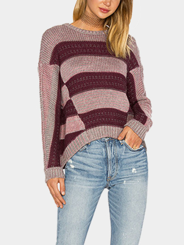 Purple Minimalism Loose Stripe Crew Neck Curved Hem Sweater