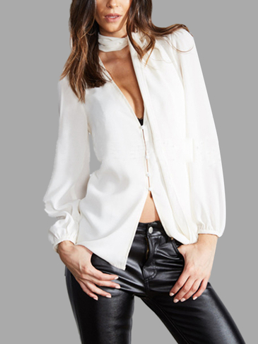 Sheer-through White Plung V-neck Lantern Blouse without Choker