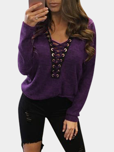 Sexy Deep V-neck Lace-up Front Casual T-shirts in Purple