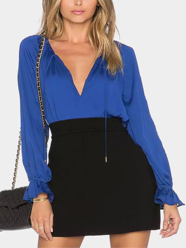 Blue V-neck Lace-up Flared Sleeves Shirt
