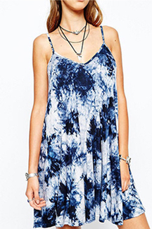 Tie Dye Sleeveless A-line Mini Dress