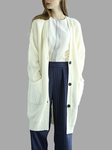 Beige Button Front Longline Cardigan In Knit