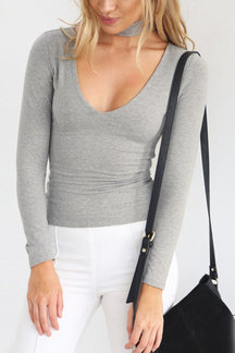 Grey Sexy Halter V-neck T-shirt