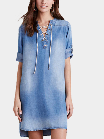 Denim Blue Slit Details Lace-up Design Short Sleeve Mini dress