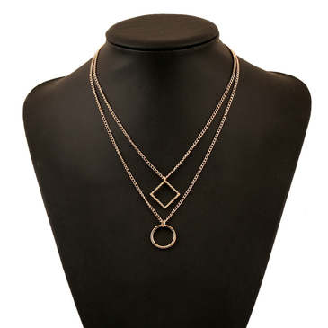 Golden Plated Double-chain Diamond & Circular Pendant Necklace