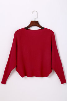 Red Sexy Pullover Bat Sleeves Loose Jumper