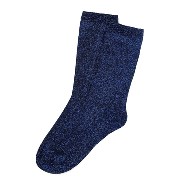 Glitter Blue Black Jacquard Crew Socks