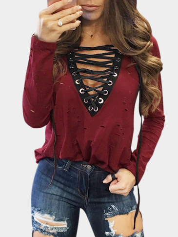 Burgundy V-neck Plunge Lace-up Front Hollow Design T-shirt
