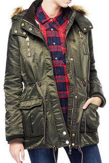 Parka Coat with Artificial Fur Hood