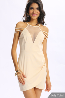 Sexy Wrap Front Mini Dress with Cut Out Details