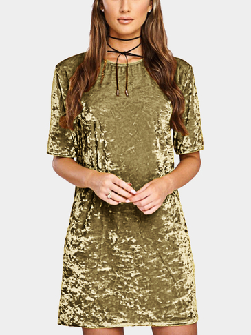 Yellow Velvet Round Neck Mini T-Shirt Dress