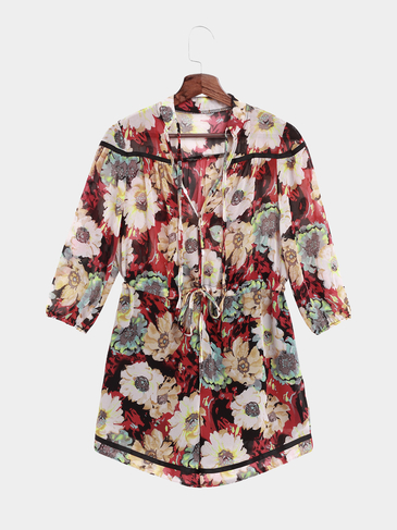 Semi Sheer Sexy Random Floral Print V-neck Playsuit with Three Quarter Sleeves