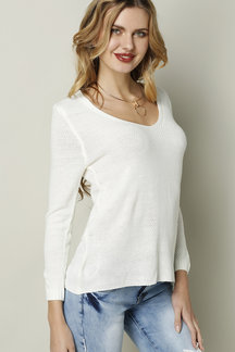 Classic Design White Loose Plunge Sweater