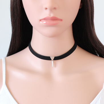 Simple Silvery Plated Pendant Velvet Ribbon Chain Necklace