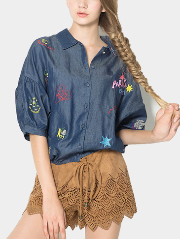 Sweet Wind Embroidery Loose Denim Shirt