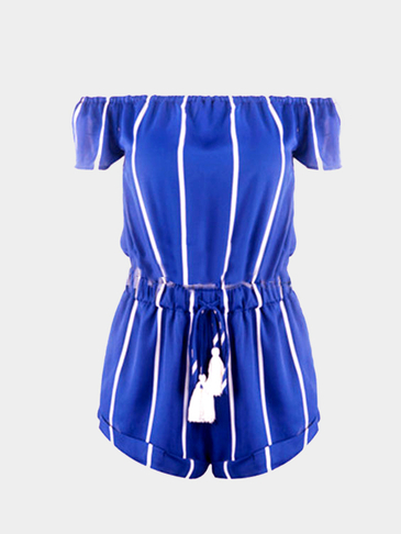 Blue Stripe Off Shoulder Drawstring Waist Playsuit