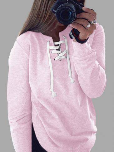 Casual Fall Style Pink Long Sleeve Lace-up Sweatshirt