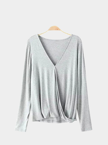 V-neck Cross Front Top in Grey