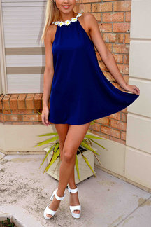 Loose Blue See-through Flower Sleeveless Mini Dress