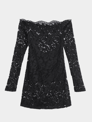 Sexy Black Off Shoulder Lace Design Long Sleeve Blouse