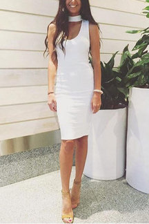 White Sexy Bodycon Sleeveless Midi Dress