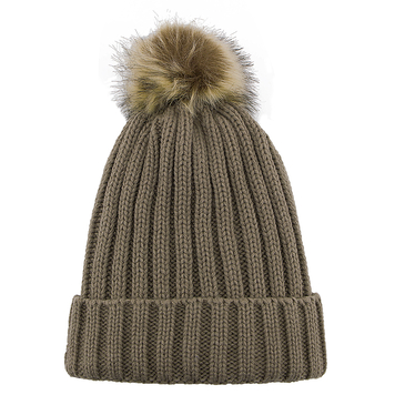 Beanie Hat with Artificial Fur Pom