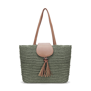 Straw-Woven Lined Beach Bag in Moss with Flap Top and Tassel