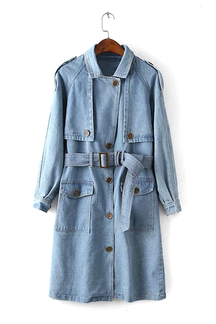 Denim Trench Coat with Self-tie Belt in Light Blue