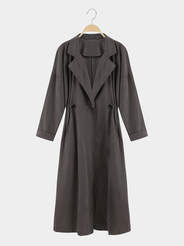 Gray Lapel Collar Trench Coat With Drawstring Waist