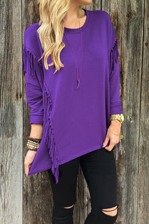 Purple Round Neck Long Sleeves Irregular Hem Top with Tassel Details