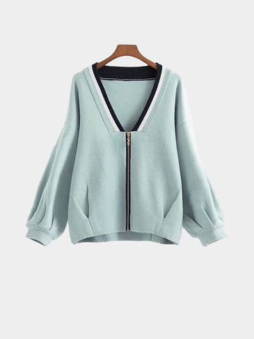 V-neck Zip Front Closure Knieted Fashion Jacket