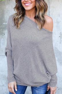 Lightweight Off Shoulder Bat Long Sleeves Loose Jumper In Grey