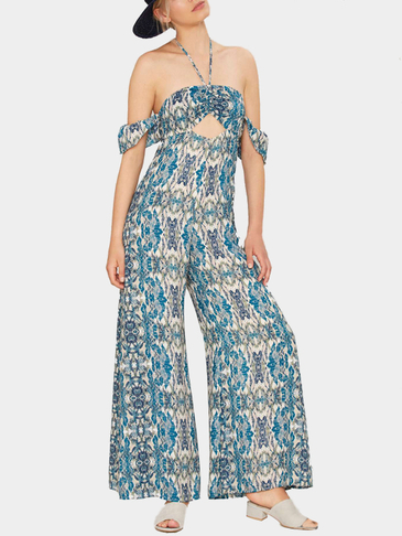 Off Shoulder Self-tie Halter Jumpsuit with Cut Out Details