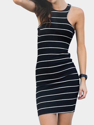 Stripe Pattern Sleeveless Criss Cross Midi Dress