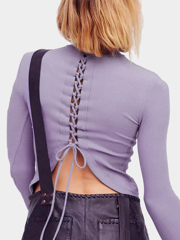 Purple High Neck Self-tie Back Long Sleeves T-shirt