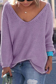 Classic Design Purple Loose Plunge Sweater