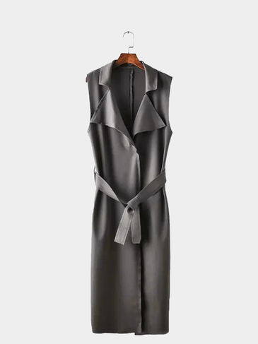 Grey Longline Lapel Collar Gilet with Self-tie Waist