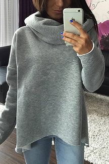 Grey High Neck Irregular Hem Casual Hoodie