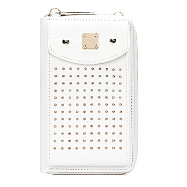 Foldover Leather-look Zipper Mobile Purse in White