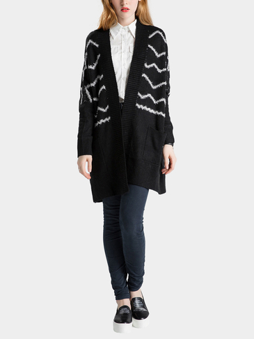 Black Wave Printing Knitted Cardigan with Open Front