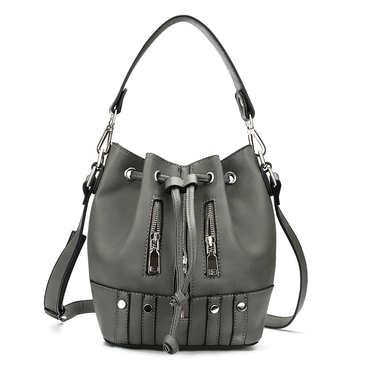 Drawstring Bucket Bag in Grey with Zips