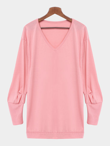 Pink V-neck Casual Long Sleeves Sweatshirt