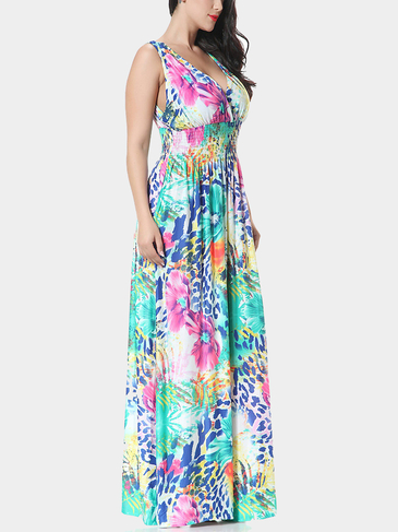 Plus Size V-neck Flower Print Summer Maxi Dress