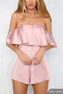 Off Shoulder Layered Playsuit with Zip Back