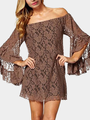 Off Shoulder Lace Mini Dress with Flared Cuffs