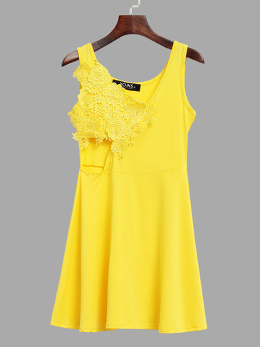 Yellow Stitching Lace Backless Flounced Hem Vest Dress