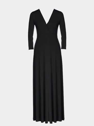 Plus Size Black Plunge V-Neck Maxi Dress