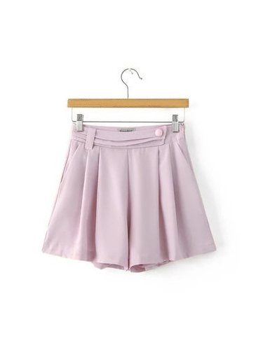 Middle Waist Pleated Hem Shorts